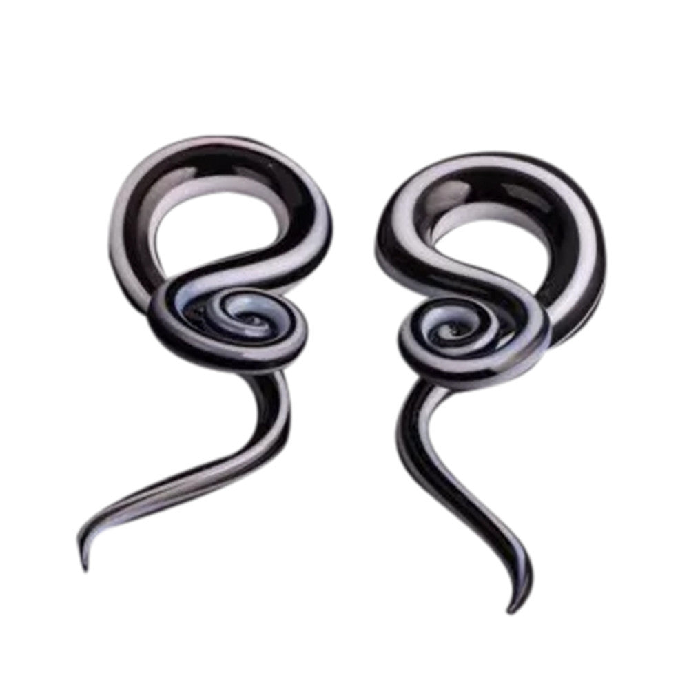 Black  Women Snail Spiral Glass Hook Taper Ear Plugs Earring Expander Stretcher Exotic 5mm, 6mm, 8mm, 10mm, 12mm #30