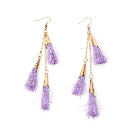 Elegant Pale pink Lavender Temperamental Unevenly Tassel Pendant earrings for women or girls Bohemian Long Drop Earrings #30