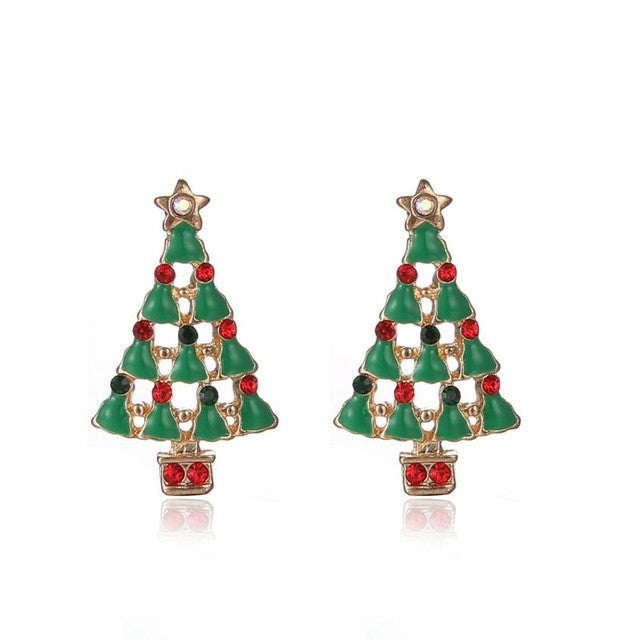 2017 New Fashion Rhinestone Crystal Stud Earrings European style Vintage Christmas Tree Casual Earrings Jewelry #45