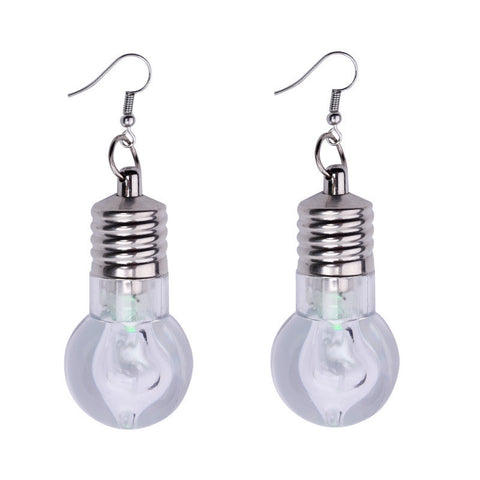 1Pair Fashion Women Light Up Earring LED Blinking Bulb Ear Hook Dangle Jewelry