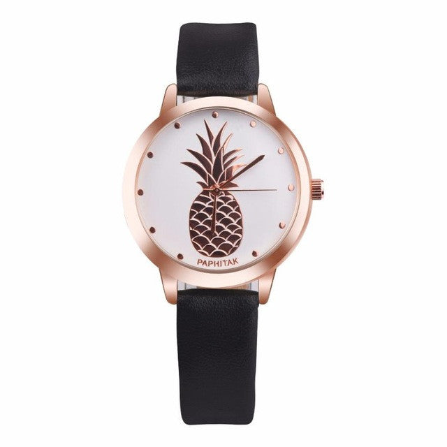 2017 Hot Sale Womens Quartz Watch Pineapple Fashion Pattren Faux Leather Analog Elegant Watch For Lady Women relogio feminino