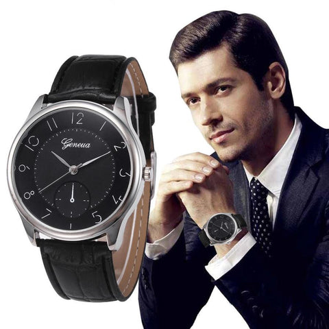 2017 New Fashion Mens Business Style Geneva Quartz Watch PU Leather Retro Design Analog Wristwatches For Men Relogio Masculino