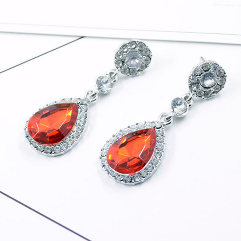 1Pair Women Drop Shape Alloy Ear Stud Imitation Crystal Earrings Jewelry BU
