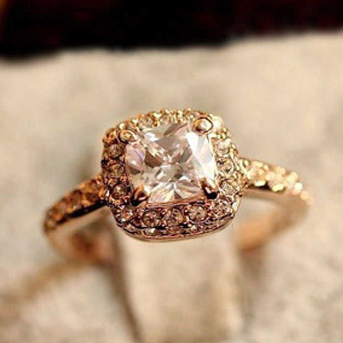 1PC Princess Square Diamond Ring Luxury Elegance Fashion Wedding Ring