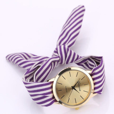 7 Colors Women's Watches Stripe Febric Cloth Quartz-Watch Bracelet Wristwatch For Women reloj mujer relogio feminino &22