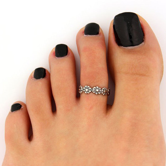 2PC Women Antique Toe Ring Foot Beach Silver Metal Adjustable Jewelry