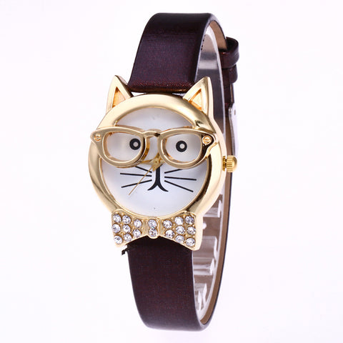 Cute Glasses Cat Women Analog Quartz Dial Wrist Watch