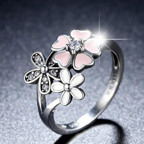Cherry Blossom Pink Enamel Heart Floral Finger Ring Size 6