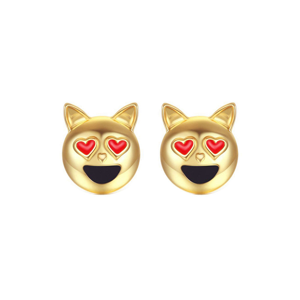 1 Pair New Fashion Simple Dog Head Alloy Women Stud Earrings