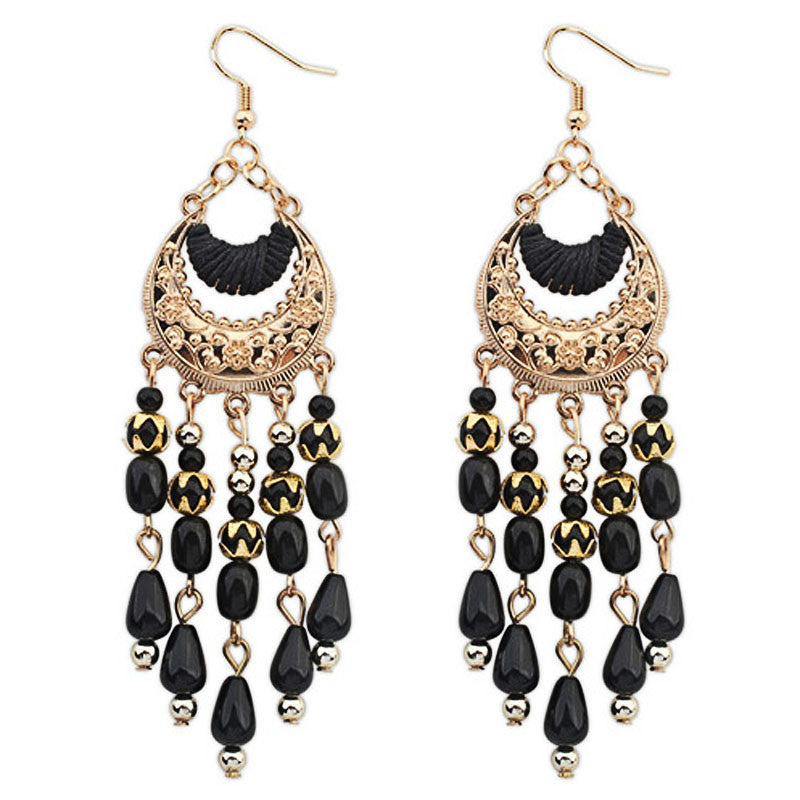 1PC Bohemian Fringed Long Section Of Big Beads Pendant Drop Earrings BK