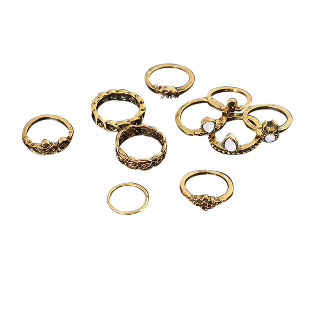10Pcs/Set Vintage Silver Arrow Moon Finger Knuckle Rings Jewelry Gift Gold