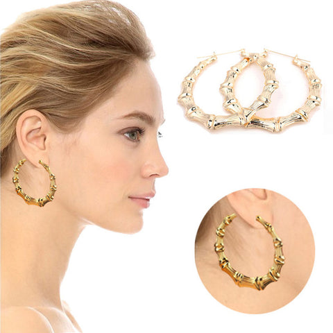 1Pair Fashion Punk Gold Tone Bamboo Big Hoop Large Alloy Circle Earrings