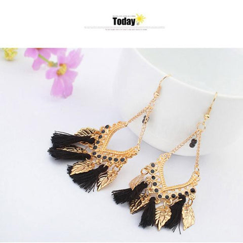 Bohemian Fashion Leaves Earrings Black