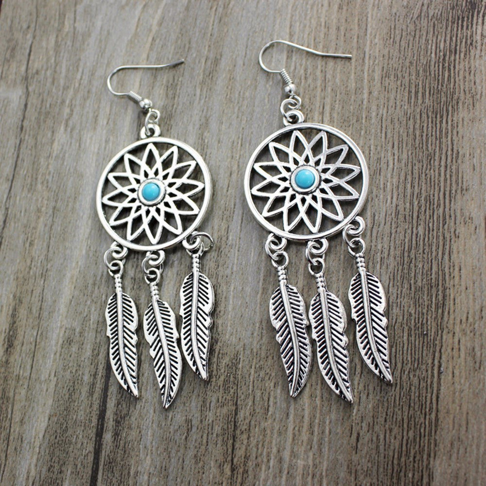 Fashion Bohemian Style Retro Silver Alloy Earrings Indian Dreamcatcher Monkey
