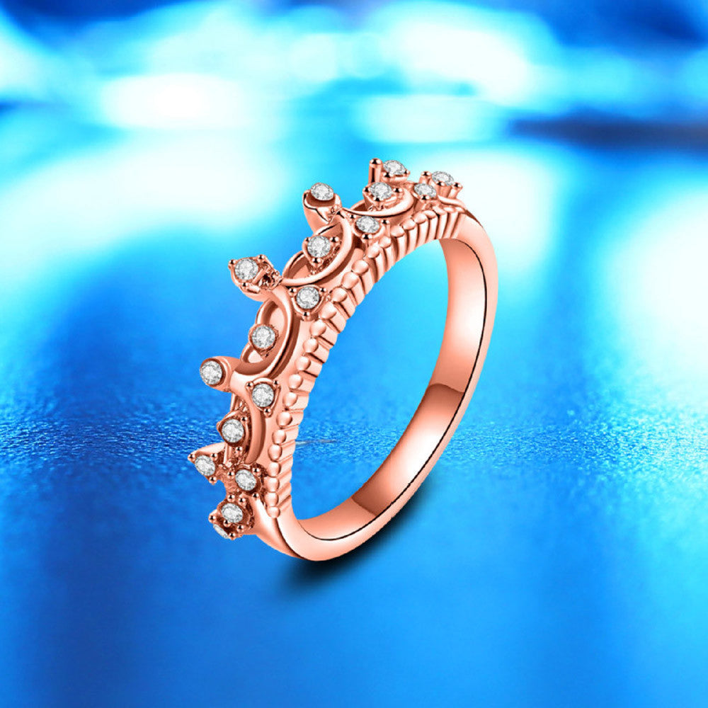 2017 New Fashion Gold Pretty Crown Lady Crystal Ring Princess Ring Rose Gold 10
