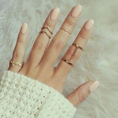 6pcs / Set Gold Urban Rings Crystal Above Knuckle stacking Band Midi Mid Ring