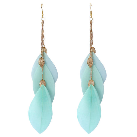 Bohemian Handmade Vintage Feather Long Drop Earrings BK