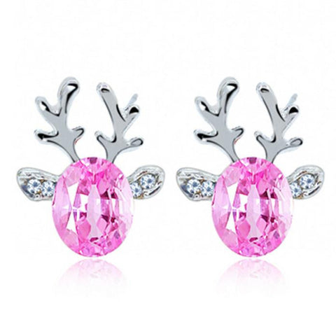 Crystal Gemstone Earrings luxury three dimensional Christmas reindeer  earing