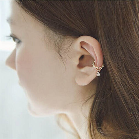 Ear Bone Folder Ear Cuff Wrap Rhinestone Cartilage Clip On Earring GD