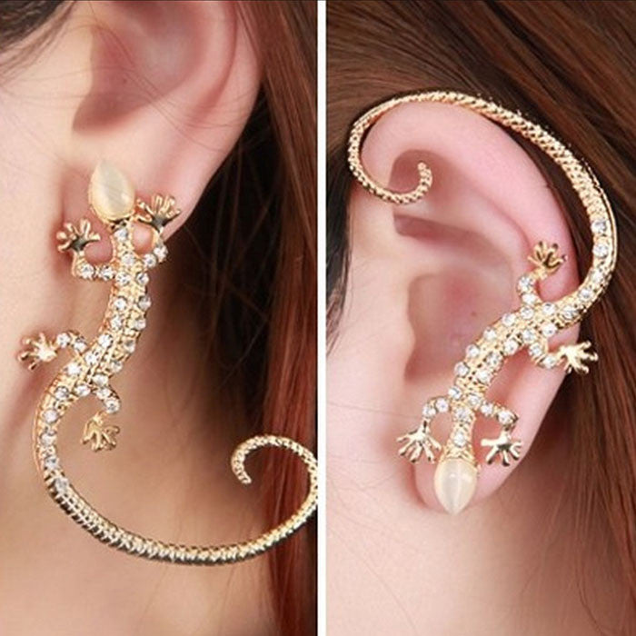 Crystal Rhinestone Ear Cuff Earrings Luxury Gecko Stud Earrings Gold