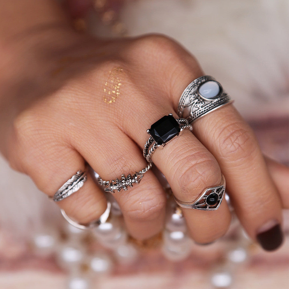6PCS Vintage Women's Boho Crystal Flower Knuckle Ring Tibetan Turkish