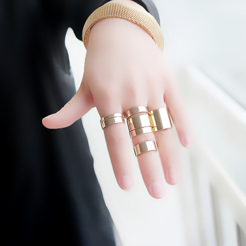 7Pcs Plated Shiny Fashion Band Midi Finger Knuckle Stack Rings GD