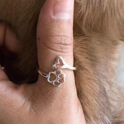 Beauty Hollow Paw Print Love Heart Ring Open Adjustable Ring Pet Animal Jewelry