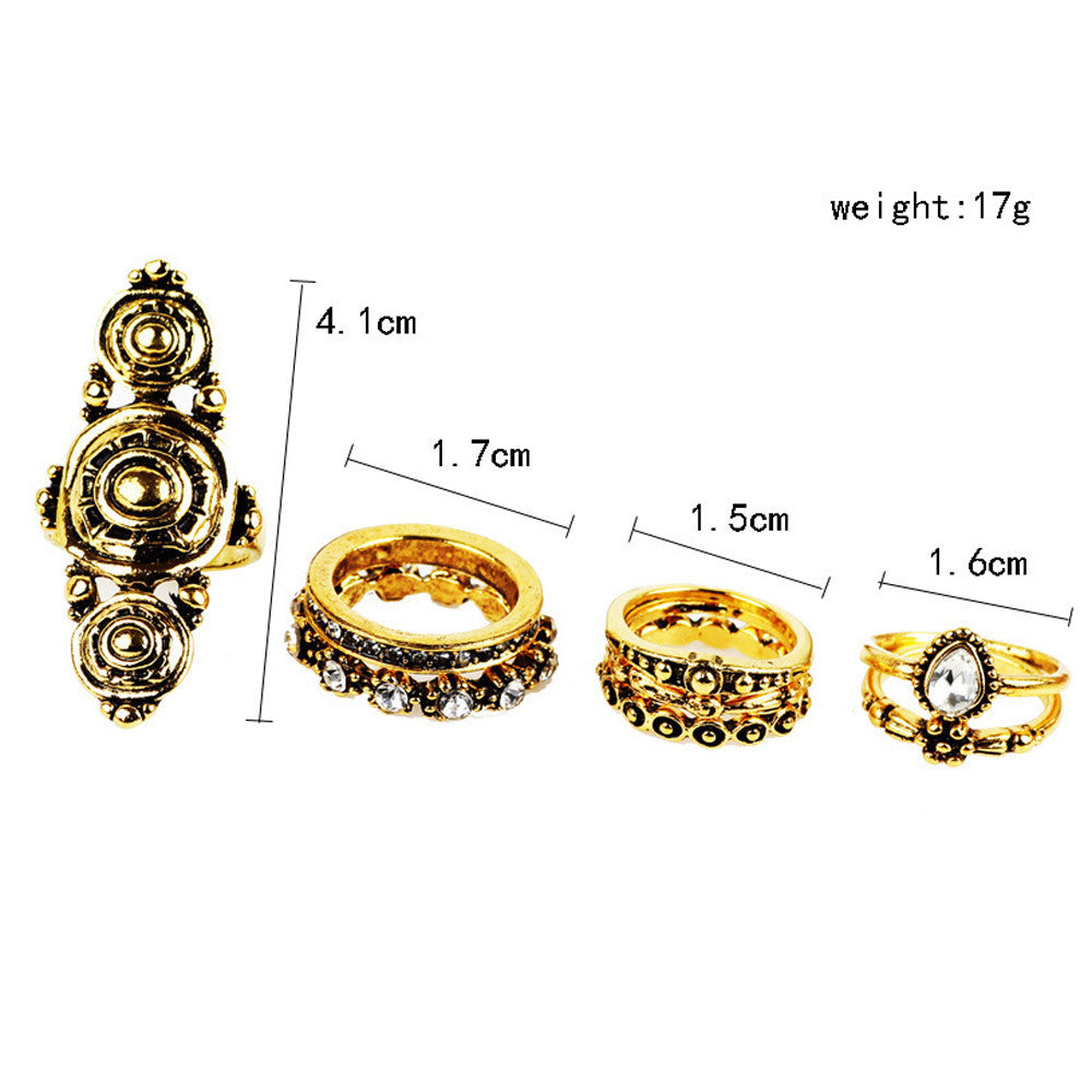 7pcs/Set Women Bohemian Vintage Silver Stack Rings Above Knuckle Rings Set