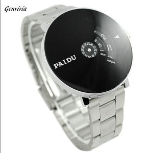 GENVIVIA 2017 Novelty High Quality Watch Men Luxury Brand Stainless Black Turntable Dial Clock Relogio Masculino Watch Gift