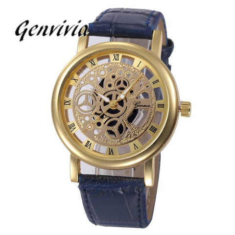 2017 Fashion Hollow Quartz Watch Luxury	Brand Genvivia Analog Stainless Steel reloj hombre Wrist Watches