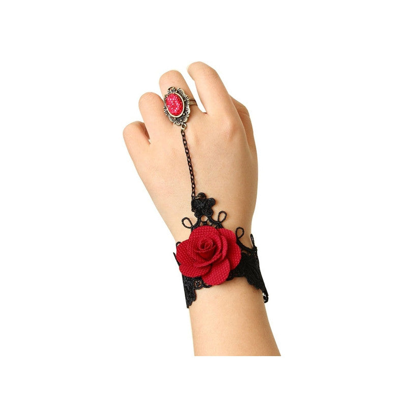 Retro Style Handmade Rose Lace Bracelet Hand Chain Decoration with Finger Ring for Parties /Masquerade /Festivals