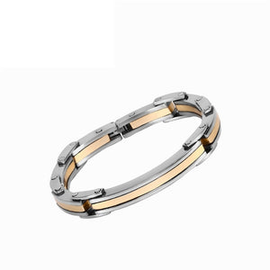 Stainless Steel Link Chain Men's Bracelet 8.3 inch Gold Black Silver Tone
