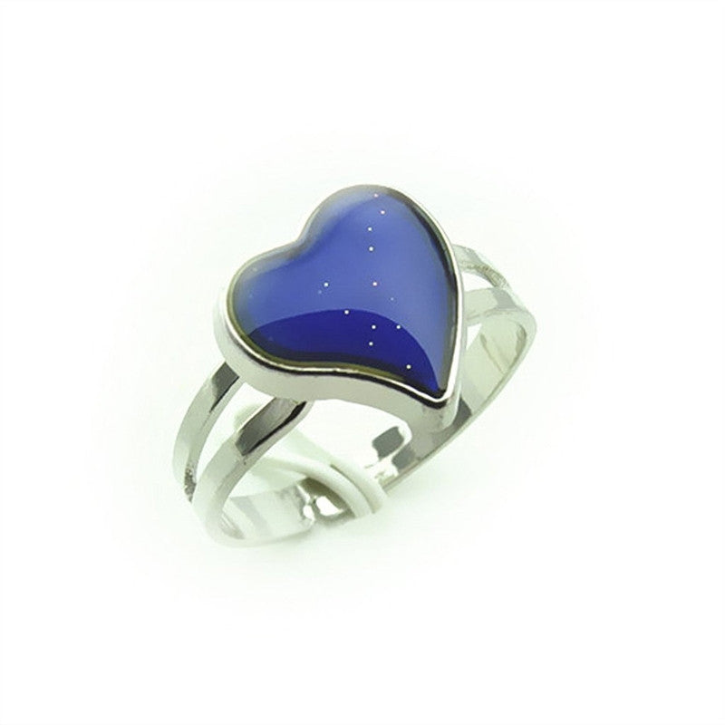 Adjustable Heart Shaped Color Change Emotion Feeling Mood Ring Finger Ring