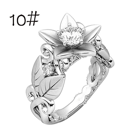 Beautiful Women's Floral Ring Rose Lucky Flower Leaf Diamond Jewelry Gift Rings