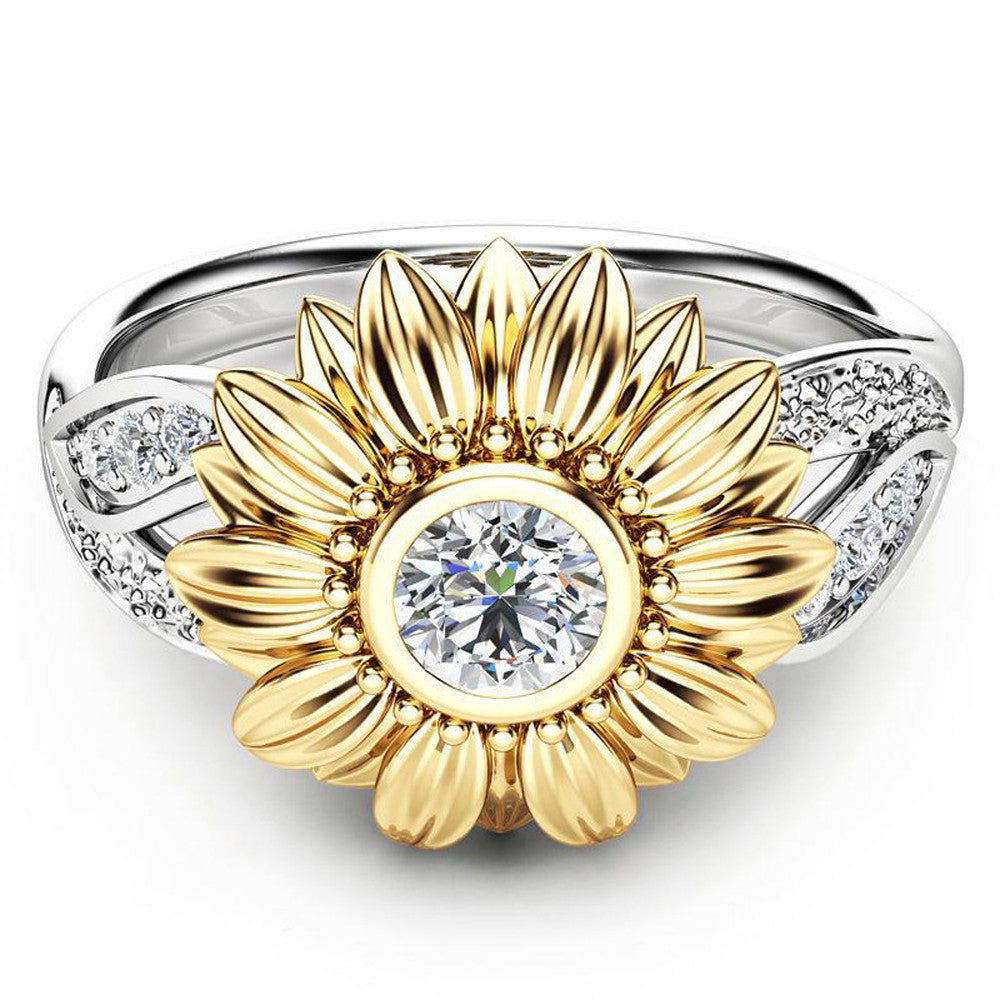 Exquisite Women's Two Tone Silver Floral Ring Round Diamond Gold Sunflower Jewel