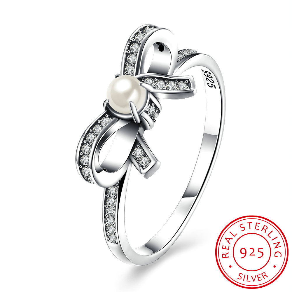 925 Sterling Silver Ring Bow inlaid pearl ring