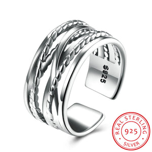925 Sterling Silver Ring Open ring line ring women's