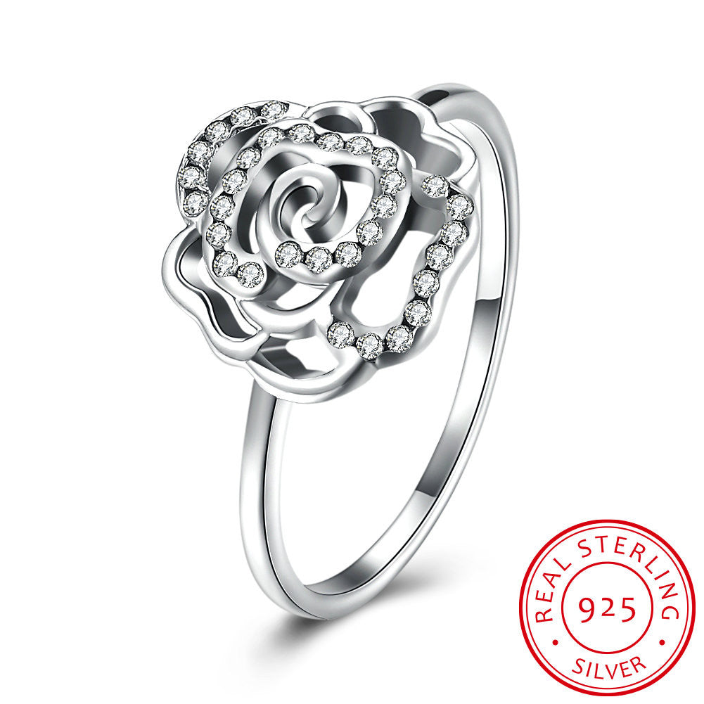 925 Sterling Silver Ring Rose diamond ring