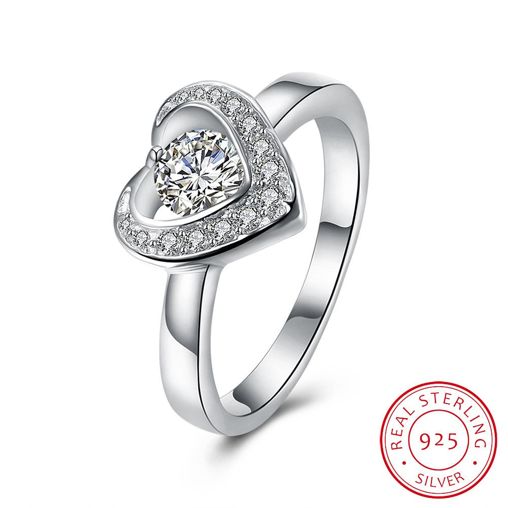 925 Sterling Silver Ring Romantic jewelry boutique heart-shaped flat ring elegant diamond ring