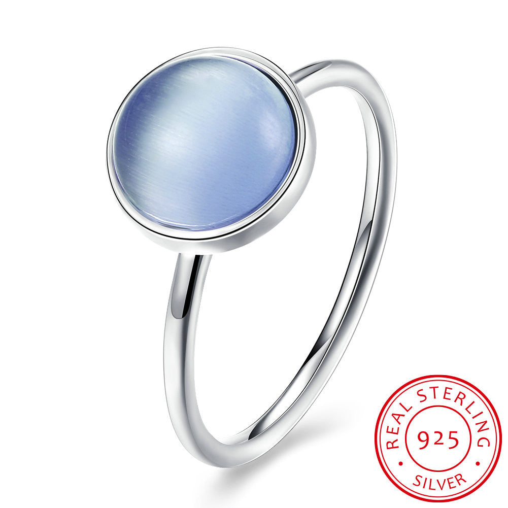 925 Sterling Silver Ring Women's Round blue diamond ring
