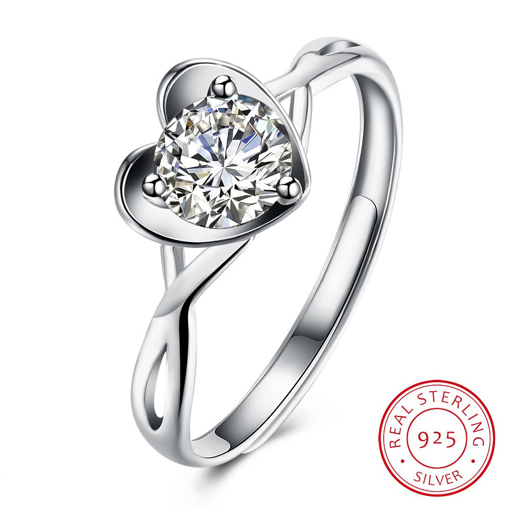 925 Sterling Silver Ring Fashion romantic heart-shaped ring ring