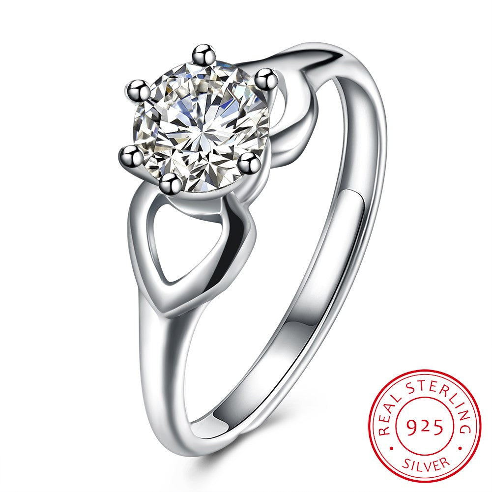 925 Sterling Silver Ring Fashion trend Ring inlaid Zircon flat Ring