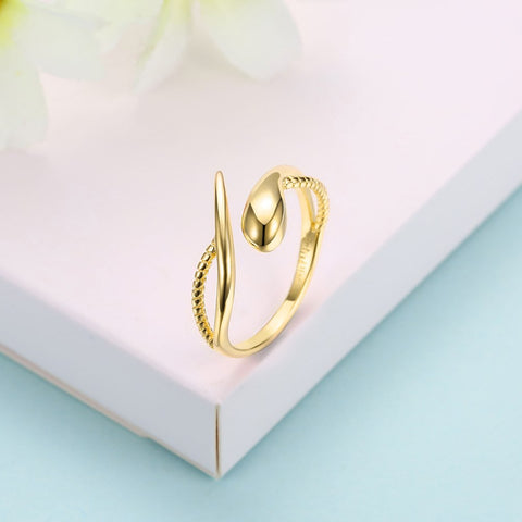 925 Sterling Silver Ring Flat ring fashion shaped wind opening design punk personality