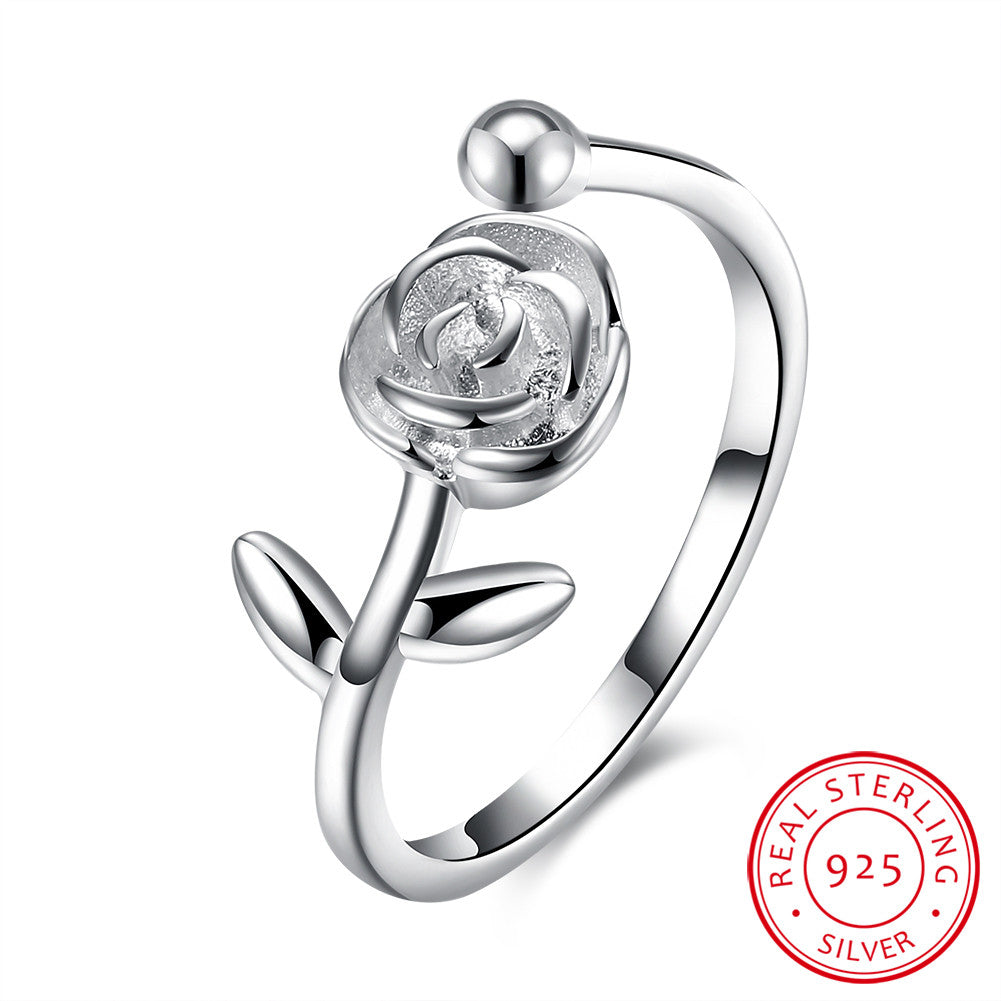 925 Sterling Silver Ring Rose opening ring jewelry wholesale website factory direct