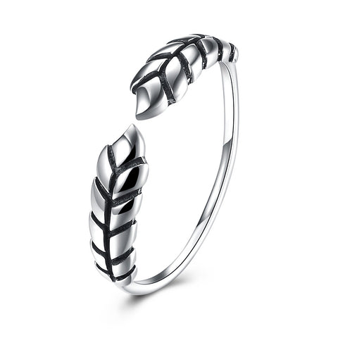925 Sterling Silver Ring Women's Open Ring New Personality Feather Ring