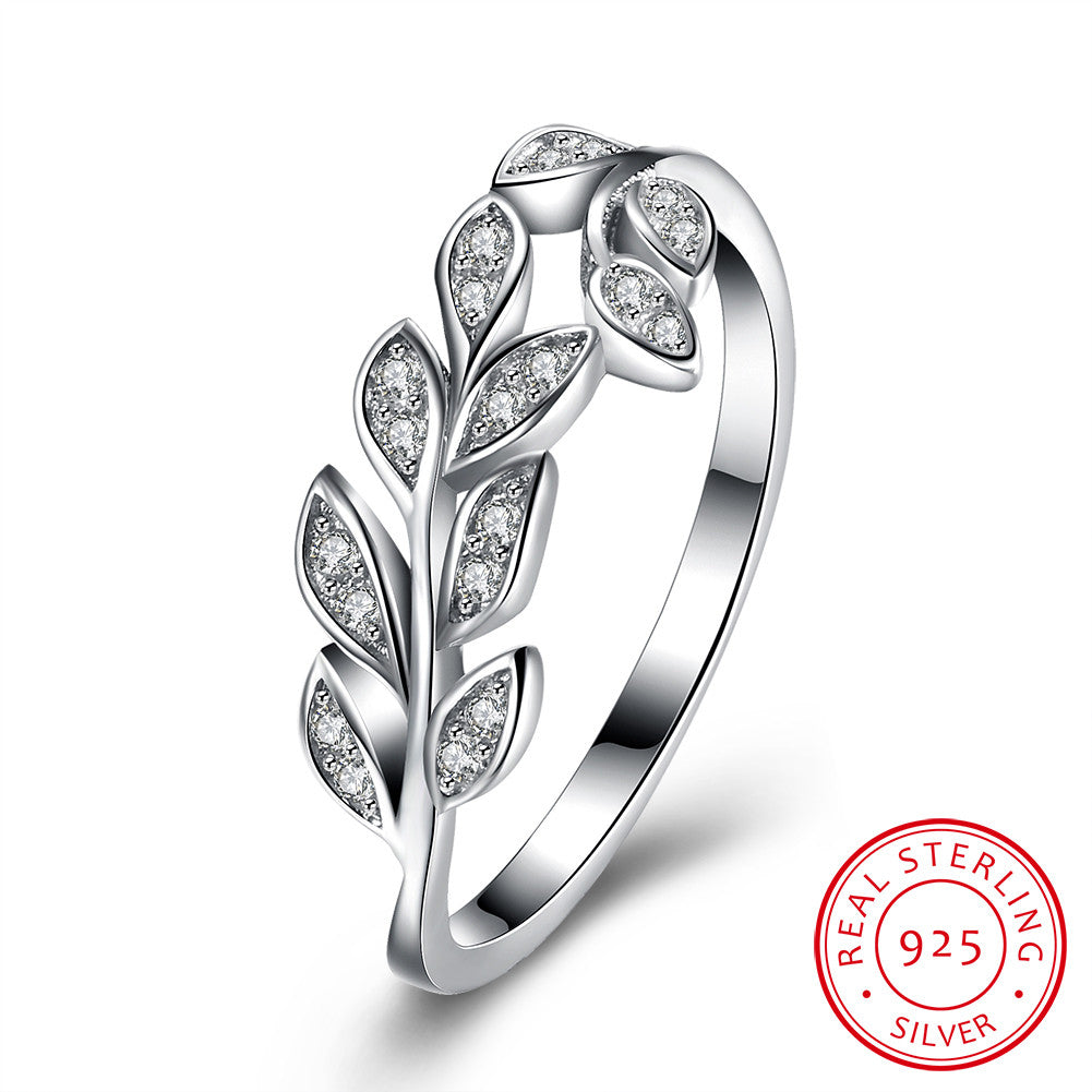 925 Sterling Silver Ring olive branch inlaid stone ring jewelry wholesaler