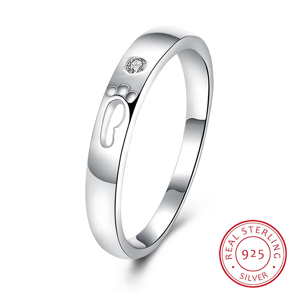 925 Sterling Silver Ring Cute romantic flat ring 925 silver elegant flat ring