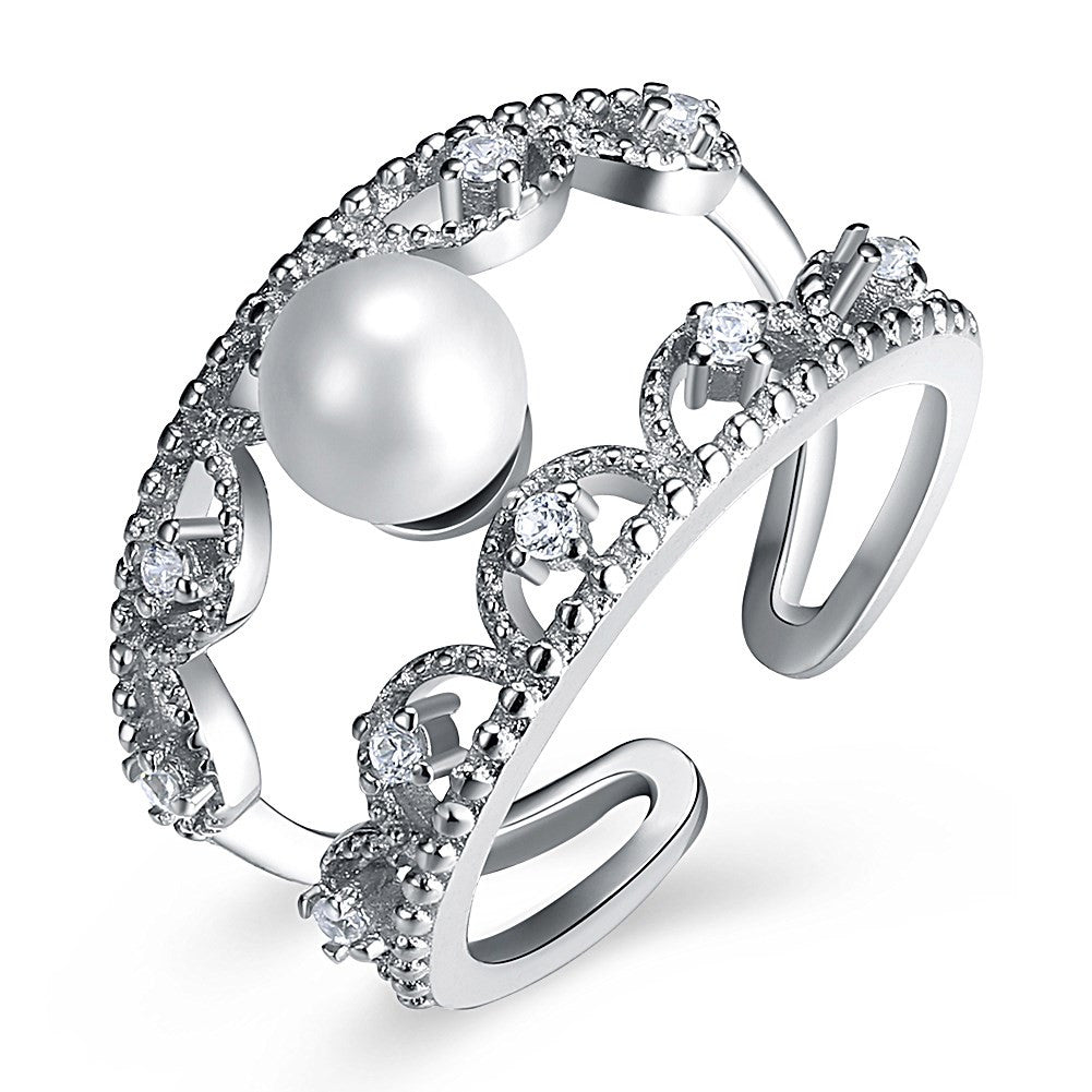 925 Sterling Silver Ring Korean fashion zircon Pearl Sterling Silver Ring