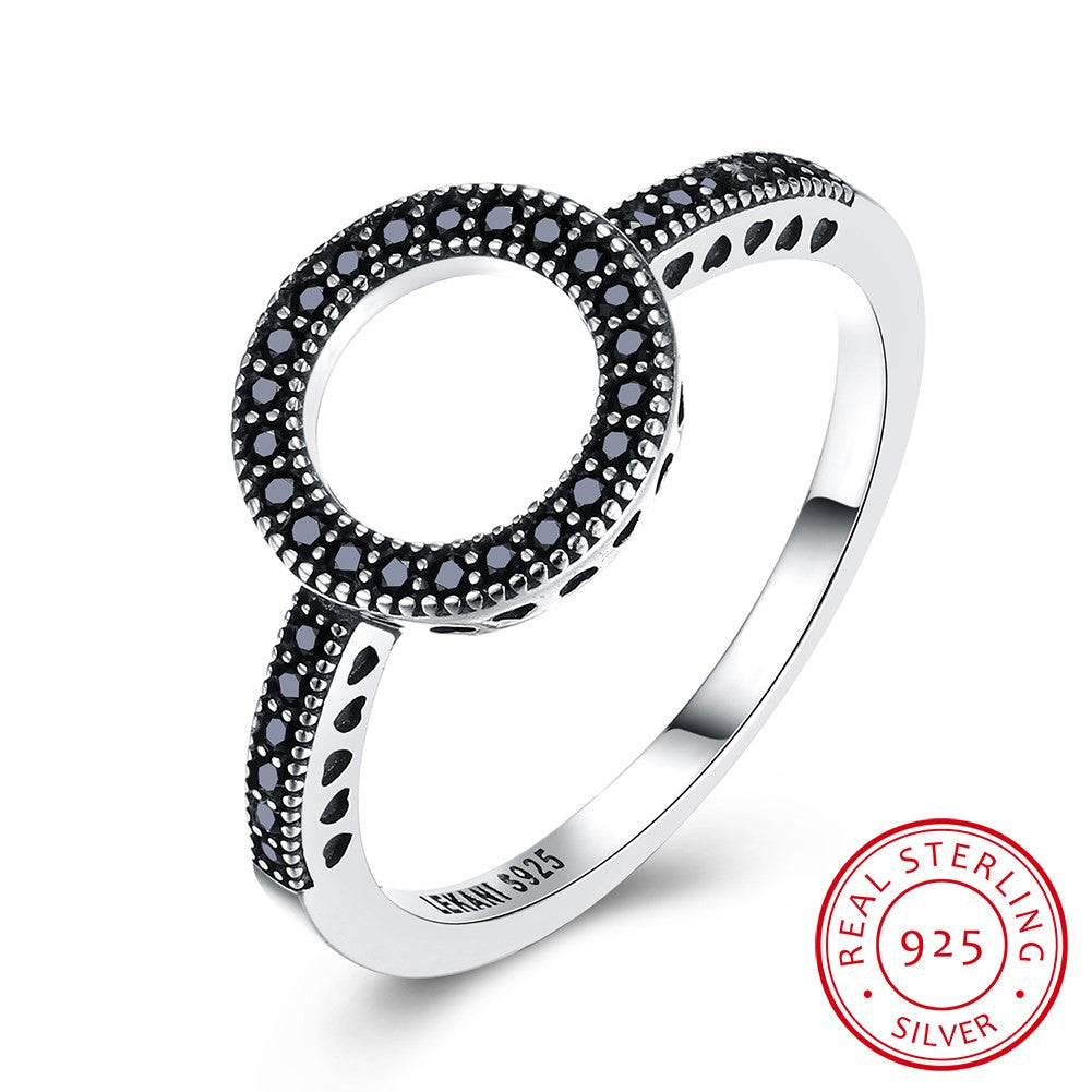 925 Sterling Silver Ring Trendy sterling silver retro style black zirconium ring