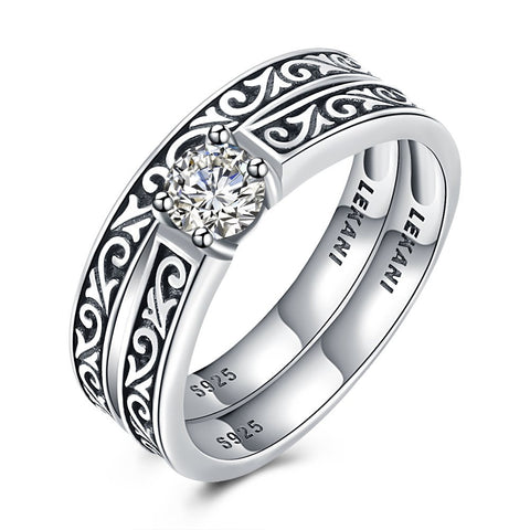 925 Sterling Silver Ring Retro diamond ring(2pcs/set)